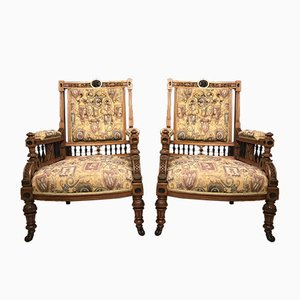 Antique Victorian Walnut Armchairs, Set of 2