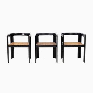 Club chair in legno ebanizzato e vimini, 1974, set di 3