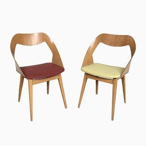 Esszimmerstühle mit Sitz aus Kunstleder von Louis Paolozzi, 1950er, 2er Set