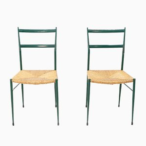 Supperleggera Metal Side Chairs from Gio Ponti, 1962, Set of 2