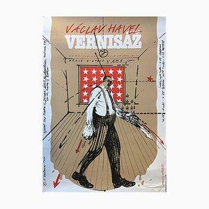 Póster de teatro checoslovaco de Karel Haloun, años 90