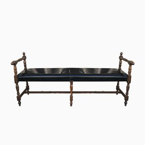 Antique French Leather Window Seat