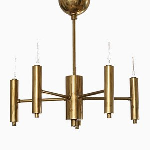 Minimalist Brass 6-Arm Chandelier, 1950s