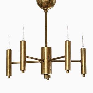 Minimalist Brass 6-Arm Chandelier, 1950s