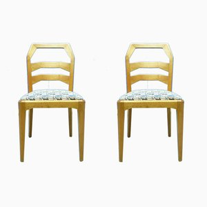 Anthroposophical Limewood Dining Chairs by Felix Kayser for Schiller Möbel, 1920s, Set of 2
