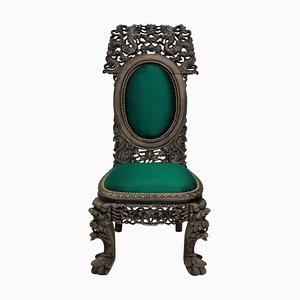 Antiker chinesischer Beistellstuhl mit Sitz aus Seide