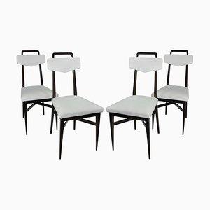 Italienische Esszimmerstühle mit Gestell aus Mahagoni & Samtbezug, 1950er, 4er Set