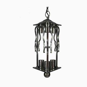 Französische Laternenlampe aus Stahl, 1930er