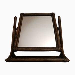 Specchio inclinabile vintage in bambù