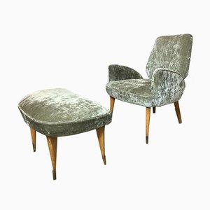 Italian Gray Armchair and Ottoman, 1950s, Set of 2