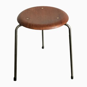 Danish Teak Stool by Arne Jacobsen for Fritz Hansen, 1950s
