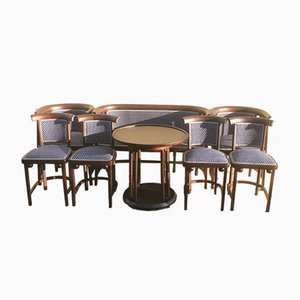 Antique Living Room Set by Josef Hoffmann, Set of 8