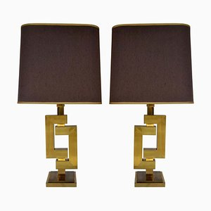 Geometric Brass Table Lamps by Willy Rizzo for Romeo Rega, 1970s, Set of 2