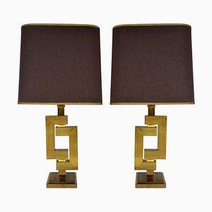 Lámparas de mesa geométricas de latón de Willy Rizzo para Romeo Rega, años 70. Juego de 2