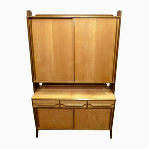 Scandinavian Modern Birch & Brass Wall Unit, 1950s