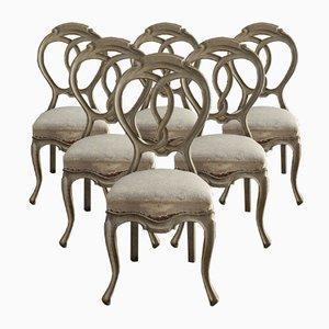 Antike Rokoko Esszimmerstühle, 6er Set