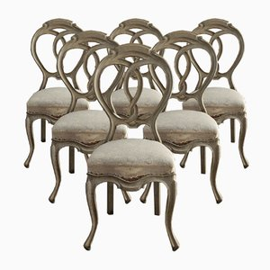 Antique Rococo Dining Chairs, Set of 6