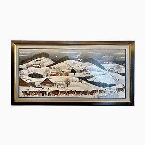 Alpabzug in Appenzell Ölgemälde von Albert Manser für Albert Manser, 1973