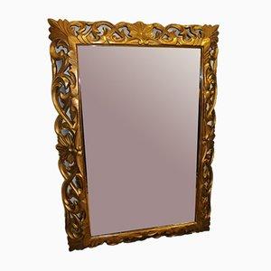 Antiker italienischer Spiegel mit vergoldetem Holzrahmen