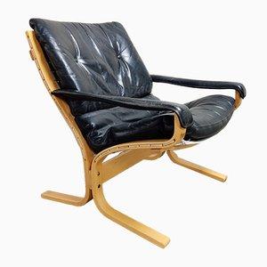 Silla Siesta de cuero negro de Ingmar Relling para Westnofa, años 70
