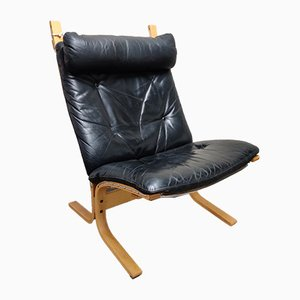 Black Leather Siesta Lounge Chair by Ingmar Relling for Westnofa, 1970s