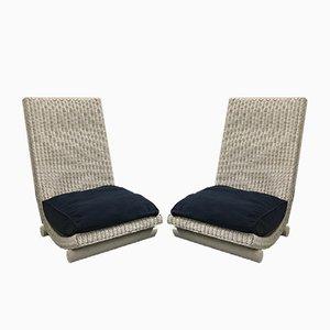 Sessel aus Korbgeflecht, 1980er, 2er Set