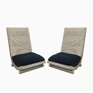 Wicker Lounge Chairs, 1980s, Set of 2