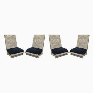 Sessel aus Korbgeflecht, 1980er, 4er Set
