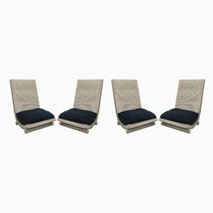 Wicker Lounge Chairs, 1980s, Set of 4