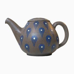 Glasierte dänische Teekanne aus Steingut von Melle Keramik, 1960er