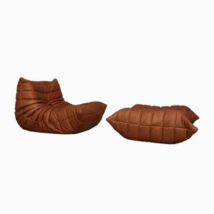 French Togo Cognac Leather Lounge Chair and Ottoman by Michel Ducaroy for Ligne Roset, 1990s, Set of 2