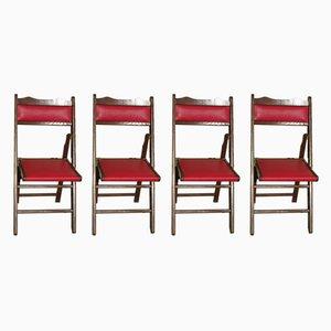 Chaises Pliantes en Chêne et Simili Cuir, 1960s, Set de 4