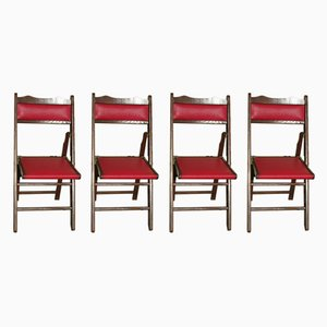 Oak and Leatherette Folding Chairs, 1960s, Set of 4