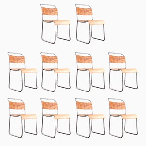 Metal and Plywood Dining Chairs from Vintage Steel, 1960s, Set of 10