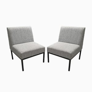 Vintage Woolen and Metal Lounge Chairs, 1970s, Set of 2