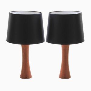 Schwedische Tischlampen aus Teak, 1950er, 2er Set