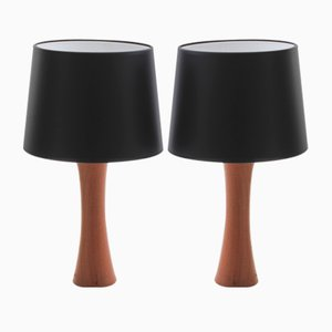 Swedish Teak Table Lamps, 1950s, Set of 2