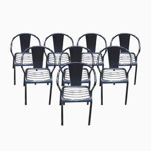 Chaises de Salle à Manger Modèle T5 de Tolix, années 40, Set de 8