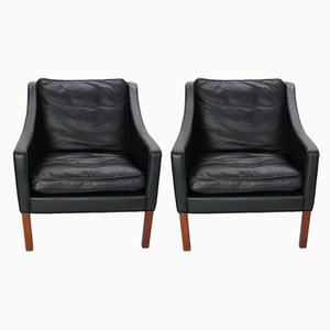 Leather Lounge Chairs by Børge Mogensen for Fredericia, 1960s, Set of 2