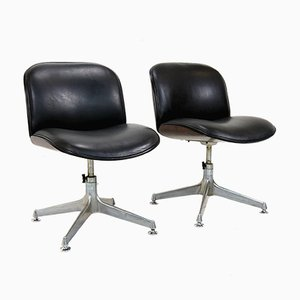 Rosewood & Leather Desk Chairs by Ico Luisa Parisi for M.I.M. Roma, 1970s, Set of 2