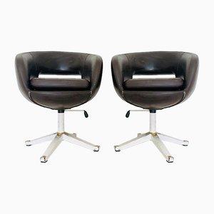 Chaises Pivotantes Vintage en Cuir Marron, années 70, Set de 2