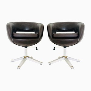 Vintage Brown Leather Swivel Chairs, 1970s, Set of 2