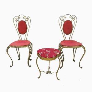 Chaises d'Appoint & Tabouret par Pier Luigi Colli, années 50, Set de 4