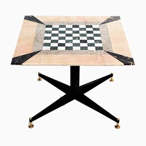Italian Marble Mosaic Game Table, 1950s