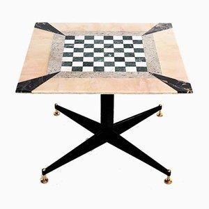 Mesa de juegos italiana de mosaico de mármol, años 50