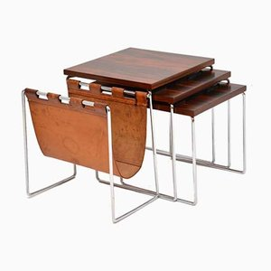 Leather, Chrome, and Rosewood Nesting Tables by Brabantus, 1960s