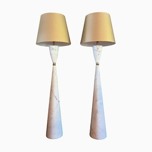 Marble and Brass Floor Lamps, 1980s, Set of 2