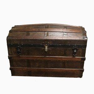 Baule vintage in pelle e legno