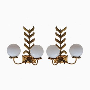 Gilded Wrought Iron Sconces, 1960s, Set of 2