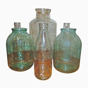 Mid-Century Industrial Glass Jars, Set of 6
